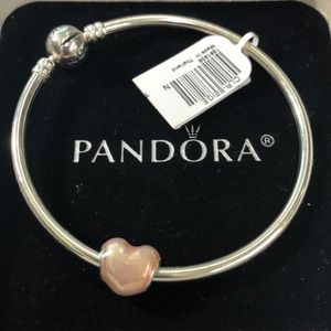 New pandora bangle with heart charm in Jared box
